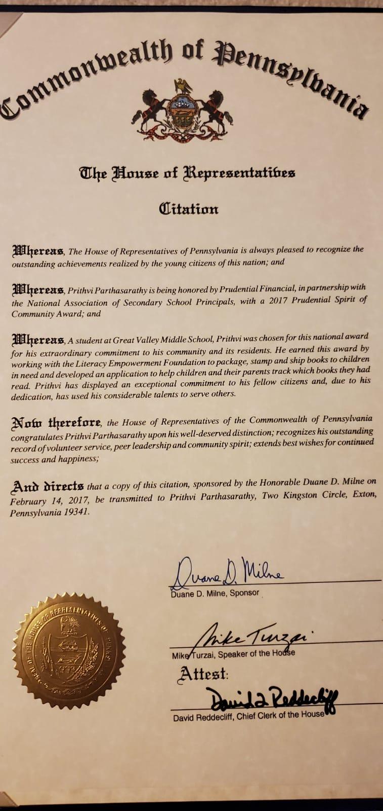 Prudential Spirit of Community Award 2